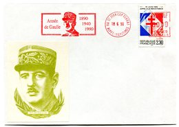 Thème Général De Gaulle - Flamme Mécanique Saint Jean Cap Ferrat - 18 Juin 1990 - R 5813 - De Gaulle (General)
