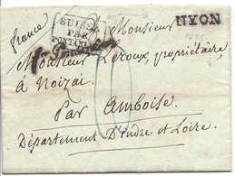 """NYON ,1825, + """" Franco Pontarlier """" + SUISSE PAR PONTARLIER,  Lettre Pour Noizai Par Amboise, Contenu. SUISSE - FRANCE - Schweiz"""