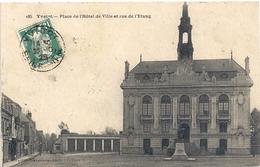 """185. YVETOT . PLACE DE L'HOTEL DE VILLE ET RUE DE L'ETANG . AFFR """" PASTEUR """" SUR LE RECTO LE 30-10-1925 - Yvetot"""