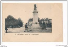 Carte D' ASNIERES  Statue  De J. J. Rousseau   ( Cantonnier ) ( Recto Verso  ) - Asnieres Sur Seine