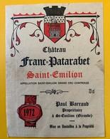 12388 - Château Franc-Patarabet 1972 Saint-Emilion - Bordeaux
