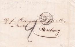 Précurseurs LAC T15 Mulhouse 07/05/1849 Pour Strasbourg. Taxe 2 Déc. - Marcophilie (Lettres)