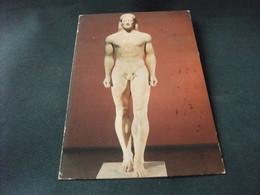 UOMO NUDO SCULTURA ATENE THE ANAVYSSOS KOUROS FRANCOBOLLO COSTUMI DONNA GRECIA - Sculture