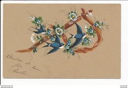 Carte Dessin Artisanat éditeur E Mercier  Lettre P Alphabet Oiseau Fleurs   ( Recto Verso ) Mauvais état - Künstlerkarten