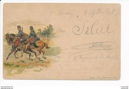 Carte Précurseur Année Cachet 1897 Dessin Militaire Non Signé Litho Lith H Christophe Nancy  ( Recto Verso ) - Illustrateurs & Photographes