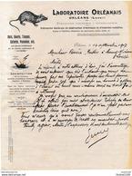Facture Illustrée Laboratoire Orléanais à Orléans Entreprise De Destruction D' Animaux Et Insectes Nuisibles ( Rats ) - Francia
