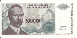BOSNIE HERZEGOVINE 500 MILLION  DINARA 1993 UNC P 155 - Bosnië En Herzegovina