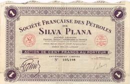 Titre Ancien - Société Française Des Pétroles De Silva Plana - Titres De 1934 - Pétrole