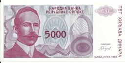 BOSNIE HERZEGOVINE 5000 DINARA 1993 UNC P 149 - Bosnie-Herzegovine