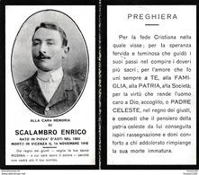 Image Religieuse De Décés Alla Cara Memoria Di SCALAMBRO ENRICO Nato In Piova D'asti Nel 1883 Morto In Vicenza - Andachtsbilder