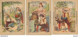 """LOT / Série De """" 6 """" Chromo Image Chicorée La Bonne Cafetière Henri FACQ à VALENCIENNES  Contes Fables (recto Verso ) - Trade Cards"""