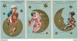 LOT SERIE 5 Chromos Laas Avec La Lune AUX BONS TISSUS Fugeray Lucas Rue Du Tabour ORLEANS Mauvais état Sur Les 2 Dernièr - Autres