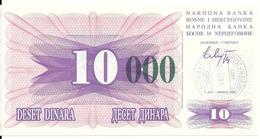 BOSNIE HERZEGOVINE 10000 DINARA 1993 UNC P 53 G - Bosnie-Herzegovine