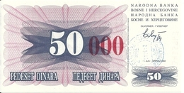 BOSNIE HERZEGOVINE 50000 DINARA 1993 UNC P 55 H - Bosnië En Herzegovina