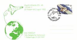 Belgium 1991 Mi 2458 COB 2406 On Cover Commemoration Dirk Frimout 23-May-1992 Atlantis, Europa Communications Olympus 1 - Europa