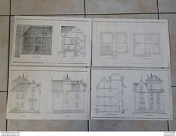 Année 1907 Plan Architecture D' Une Propriété à GUIGNICOURT Architecte Petitfils Et à PAU ( Abadie )  à Identifier - Arquitectura