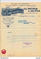 Facture Illustrée Usine HUILERIE DE CHAMPIGNY  Huiles Pour Moteurs  MICOUD à CHAMPIGNY SUR MARNE Seine - Francia