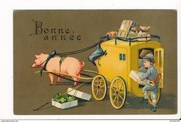 Carte Fantaisie Humoristique De Bonne Année Attelage ( Cochon / Diligence / Trèfle / Enfant Cocher ) - Neujahr