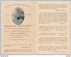 Image De Décés Militaire Jacques DEPIGNY 320e Régiment D'infanterie Saint Cyr Tombé Au Bois Des Caurières VERDUN 1917 - Andachtsbilder
