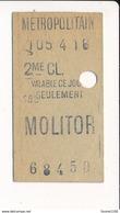 Ticket De Métro De Paris ( Métropolitain ) 2me Classe ( Station )  MOLITOR - Metro