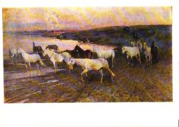 N.S.Samokish Painting, Horses, 1973 - Chevaux
