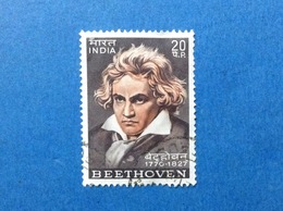 1970 INDIA FRANCOBOLLO USATO STAMP USED BEETHOVEN MUSICISTA COMPOSITORE 20 P - Used Stamps