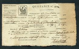 """Timbre Fiscal 1er Empire - Document Début XIXe """"Acquit De 27 Frs -1807 - Bureau De Lansargues - Recette De Montpellier - Transports"""
