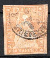 SUISSE - (Postes Fédérales) - 1854-62 - N° 29 - 20 R. Orange - (Helvetia) - Used Stamps