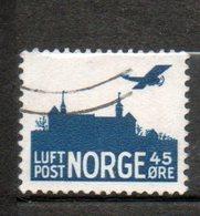 NORVEGE P Aérienne 45o Bleu Vert 1927 N°2 - Norvège