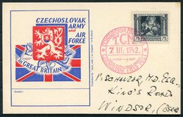 1942 GB Czechoslovakia Czechoslovak Army & Air Force Commemorative Postcard. Masaryk 92nd Birth Anniversary. Fieldpost - 1902-1951 (Rois)
