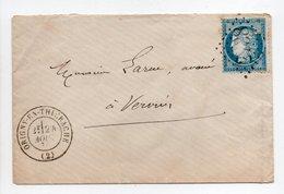 - Lettre ORIGNY-EN-THIÉRACHE Pour VERVINS (Aisne) 24 AOUT 1874 - 25 C. Bleu Cérès Oblitéré Losange GC 2738 - - Storia Postale