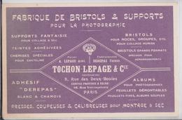 Carte Postale Publicitaire Publicité Tochon-Lepage Fabrique Bristoles Supports Photographie 3, Rue Des Deux-Boules Paris - Werbepostkarten