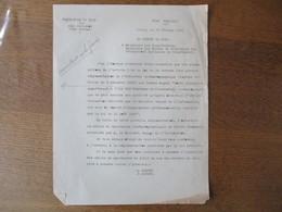 ETAT FRANCAIS LILLE LE 24 FEVRIER 1941 LE PREFET F.CARLES COURRIER SUR LA REGLEMENTATION DE L'INDUSTRIE CINEMATOGRAPHIQU - Historische Dokumente