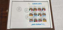 1993 Italia Foglietto Europa 93 Bandiere Flag Flags, Complete Cover Set Fdc - Omslagen