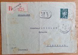 SAINT GERVAIS LES BAINS - Recommandé - 8 Novembre 1943 - Haute Savoie - Pétain 4,50 - Marcophilie (Lettres)