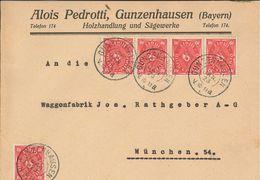 Gunzenhausen 24.1.1923 - Alois Pedrotti Holzhandlung - 50 Mark - Deutschland