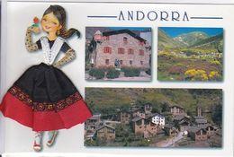 CPM; Andorra, Multivues, Personnage Brodé Ou Tissé, Sous Cellophane,  Non écrite - Brodées