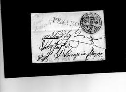 CG17 - Lettera Da Pesaro X S.Lorenzo In Campo 26/10/1822 - Bollo Lin. Nero + Bollo Direz. Prov Di Polizia - Pesaro - 1. ...-1850 Prephilately