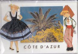 CPM; Côte D'azur, Couple  Personnage Brodé Ou Tissé, Sous Cellophane,  Non écrite - Brodées