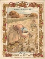 CHROMO A LA VILLE DE SAINT DENIS IMP HEROLD  JUIN LE BINAGE 15 X 12 CM - Sonstige