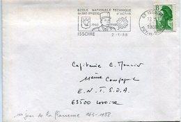 (vrac 27) Enveloppe Issoire 2.1.88 1er Jour Flamme Modifiée 1963 - 1988 - 1961-....