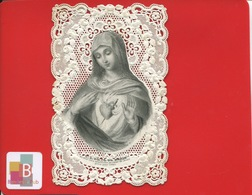 Superbe Image Religieuse Canivet Dentelle Bouasse Coeur De Marie - Andachtsbilder