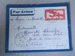 Lettre Par Avion Saigon  A Marseille Tong Tonkin 1934 Hanoi  Indochine - Luchtpost
