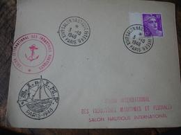 1948 14 Eme Salon Nautique Obliteration Sur Lettre - Marcophilie (Lettres)