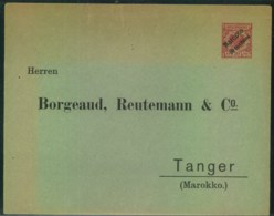 """1895 (ca.); Privatumschlag Mit 10 Pfg. Krone/Adler """"Marocco/10 Centimes"""", Sauber Ungebraucht - Bureau: Maroc"""