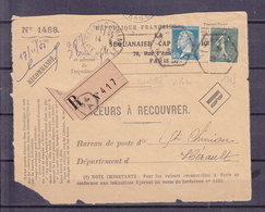 France SEMEUSE 130f+ PASTEUR 176a LES DEUX TIMBRES ROULETTE SUR DEVANT DE LETTRE DE VALEURS A RECOUVRER COMBINAISON RARE - 1903-60 Sower - Ligned