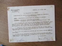 CAMBRAI LE 11 MAI 1943 LE SOUS PREFET OBJET ORDONNANCE ALLEMANDE DU 6-3-1943 INTERDICTION DE LA VENTE DES CHEVAUX ET POU - Documents Historiques