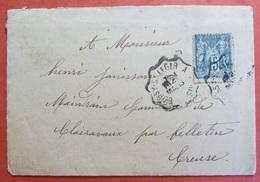 Enveloppe Avec Cachet Convoyeur BOISSY ST LEGER A PARIS - Marcophilie (Lettres)