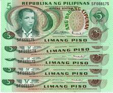 PHILIPPINES 5 PESOS ND (1978) P-160a AU/UNC 5 PCS [PH1019a] - Philippinen