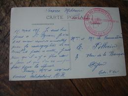 Union Cheminots  Dijon Hopital Depot Convalescents  81 Cachet Franchise Postale Guerre 14.18 - Marcophilie (Lettres)